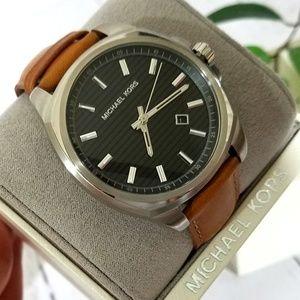 NWT Michael Kosr Bryson Brown Leather Watch MK8659